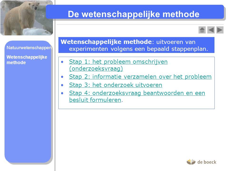 De wetenschappelijke methode Wetenschappelijke methode: uitvoeren van experimenten volgens een bepaald stappenplan. Stap 1: het probleem omschrijven (
