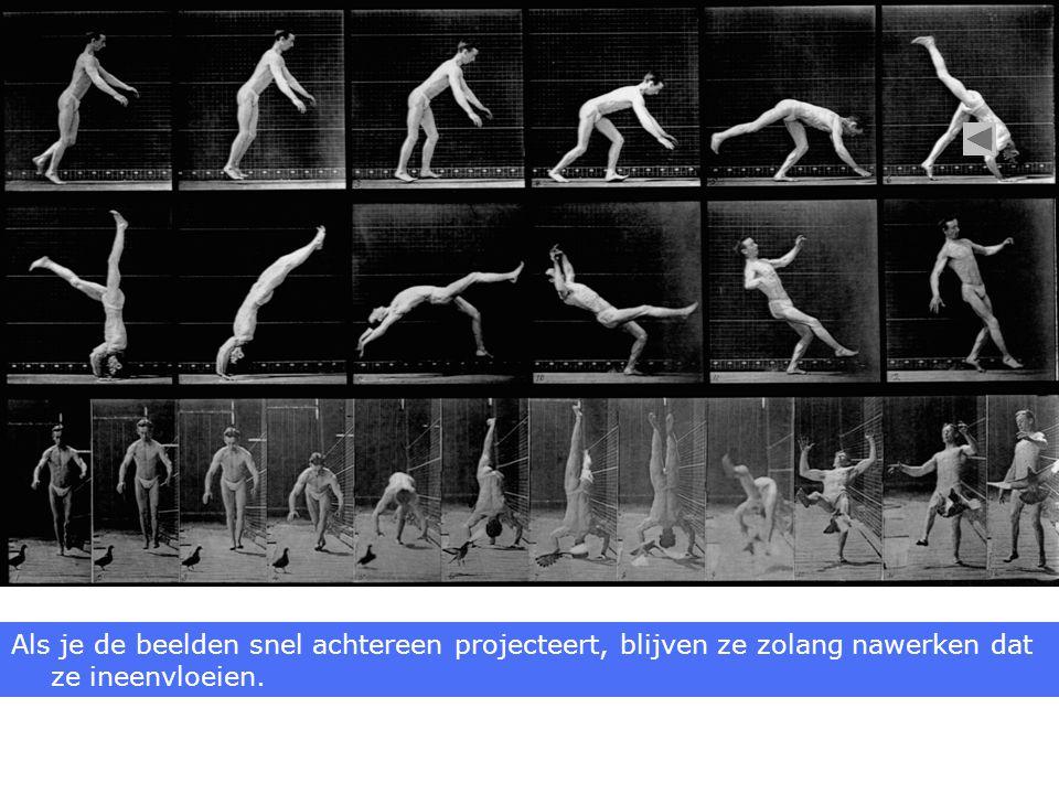 Als je de beelden snel achtereen projecteert, blijven ze zolang nawerken dat ze ineenvloeien.