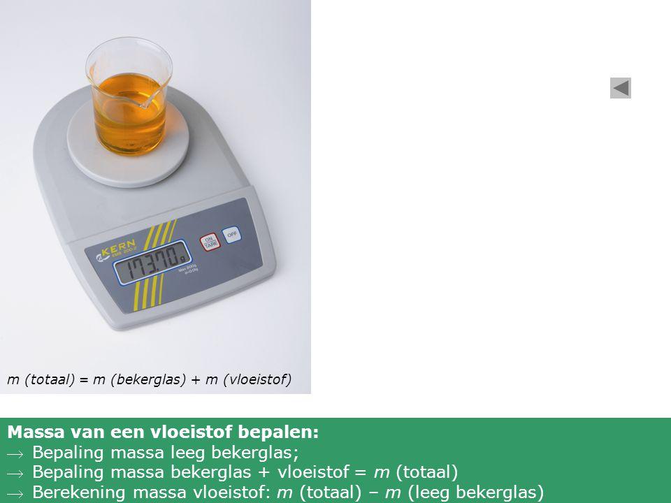 m (totaal) = m (bekerglas) + m (vloeistof) Massa van een vloeistof bepalen: Bepaling massa leeg bekerglas; Bepaling massa bekerglas + vloeistof = m