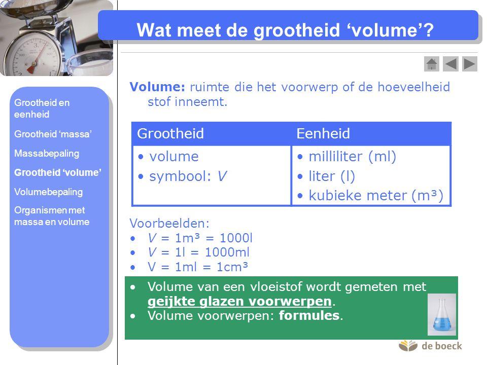 Wat meet de grootheid 'volume'? Volume: ruimte die het voorwerp of de hoeveelheid stof inneemt. GrootheidEenheid volume symbool: V milliliter (ml) lit