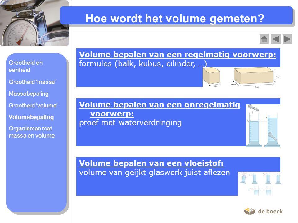 Hoe wordt het volume gemeten? Volume bepalen van een regelmatig voorwerp: formules (balk, kubus, cilinder, …) Volume bepalen van een onregelmatig voor