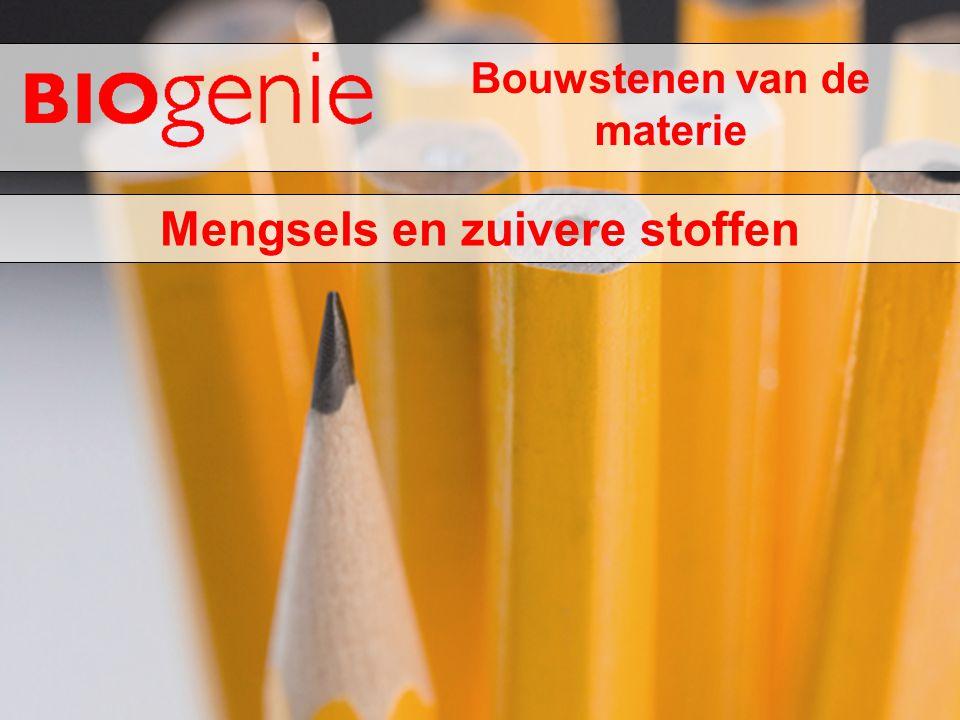 Bouwstenen van de materie Mengsels en zuivere stoffen