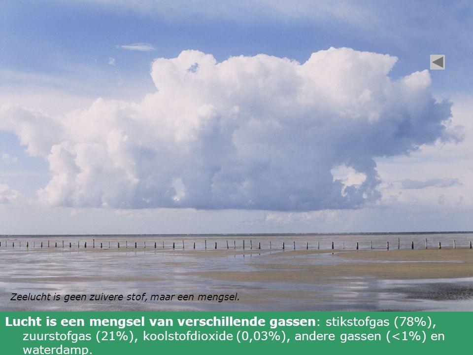 Zeelucht is geen zuivere stof, maar een mengsel. Lucht is een mengsel van verschillende gassen: stikstofgas (78%), zuurstofgas (21%), koolstofdioxide