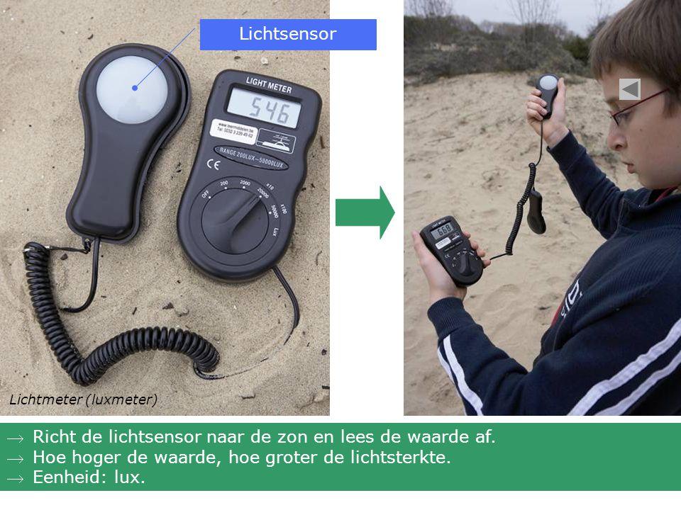 Lichtmeter (luxmeter) Richt de lichtsensor naar de zon en lees de waarde af. Hoe hoger de waarde, hoe groter de lichtsterkte. Eenheid: lux. Lichtse