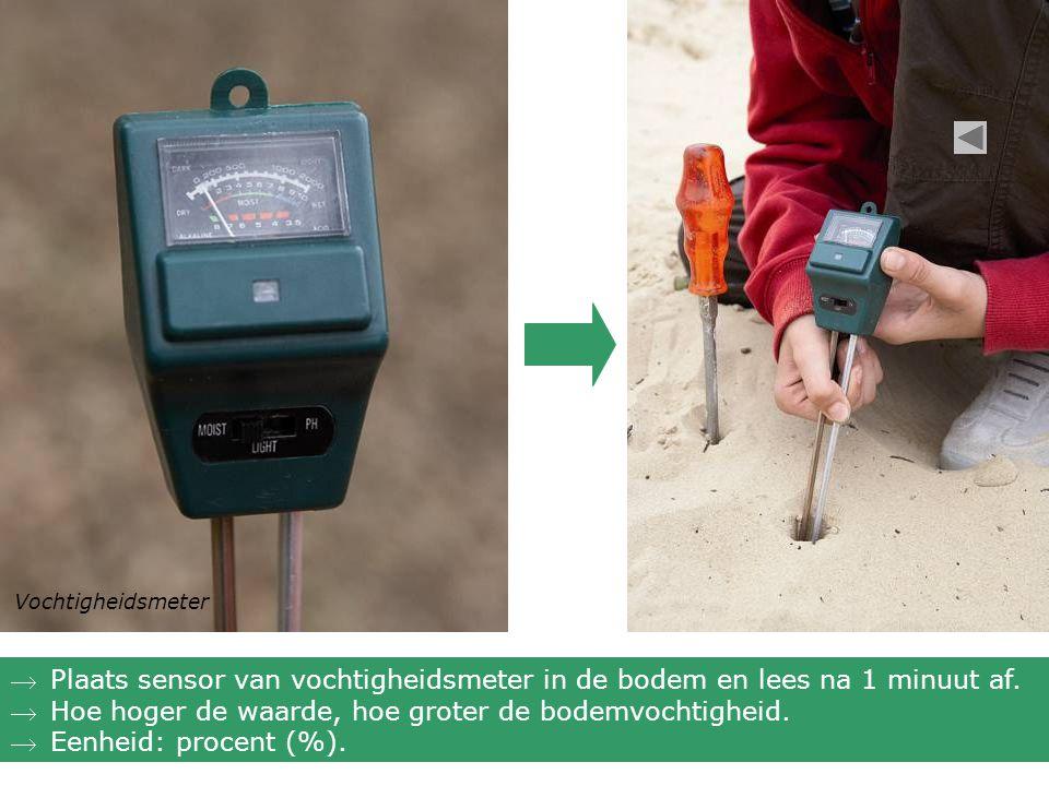 Vochtigheidsmeter Plaats sensor van vochtigheidsmeter in de bodem en lees na 1 minuut af. Hoe hoger de waarde, hoe groter de bodemvochtigheid. Eenh