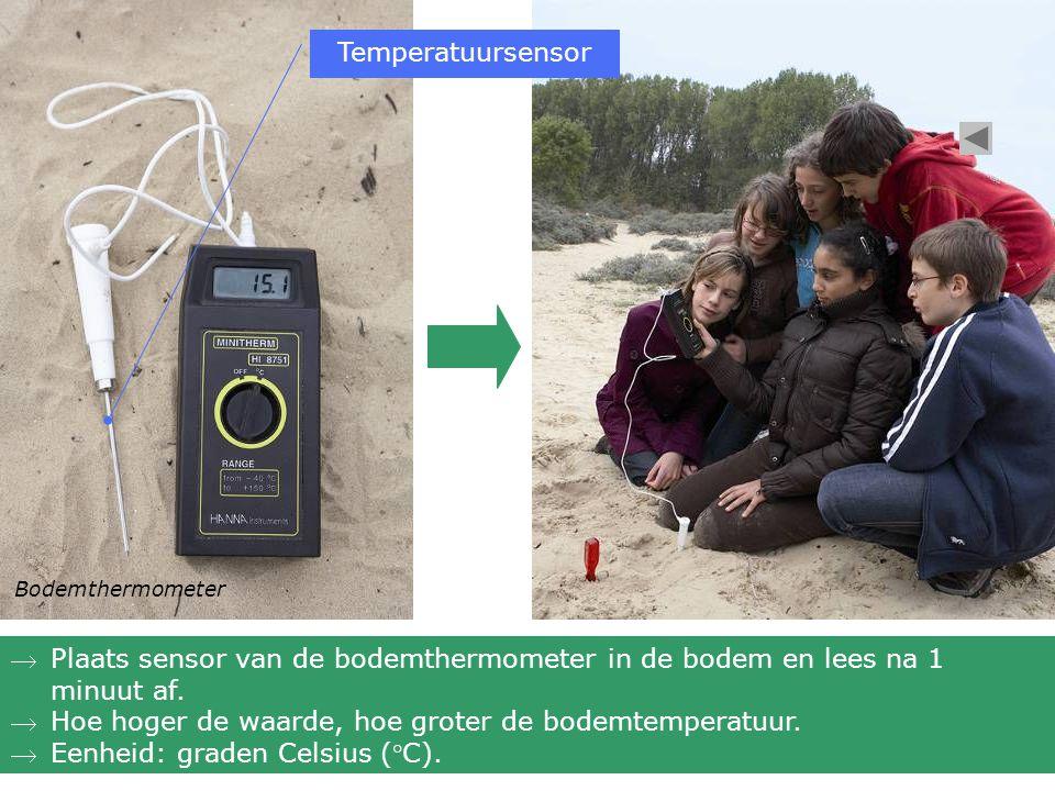 Bodemthermometer Plaats sensor van de bodemthermometer in de bodem en lees na 1 minuut af. Hoe hoger de waarde, hoe groter de bodemtemperatuur. Een