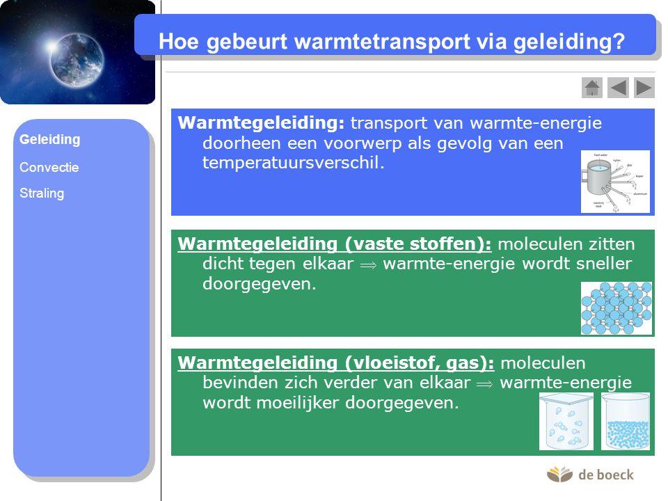 Hoe gebeurt warmtetransport via geleiding? Warmtegeleiding: transport van warmte-energie doorheen een voorwerp als gevolg van een temperatuursverschil