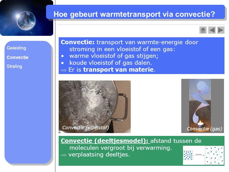 Hoe gebeurt warmtetransport via convectie? Convectie: transport van warmte-energie door stroming in een vloeistof of een gas: warme vloeistof of gas s