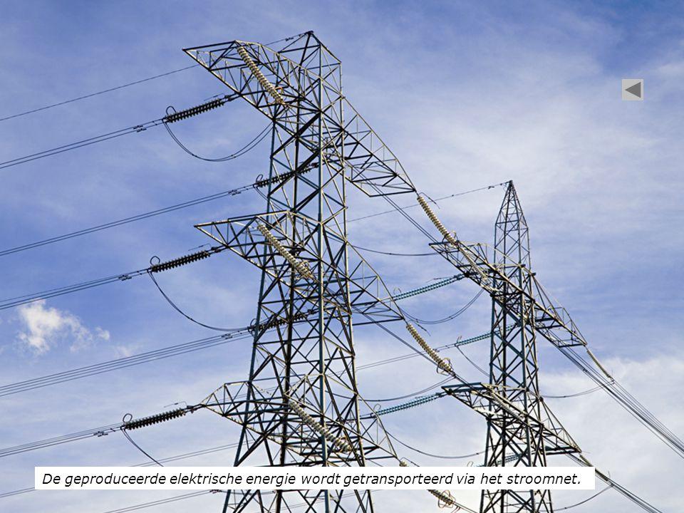 De geproduceerde elektrische energie wordt getransporteerd via het stroomnet.