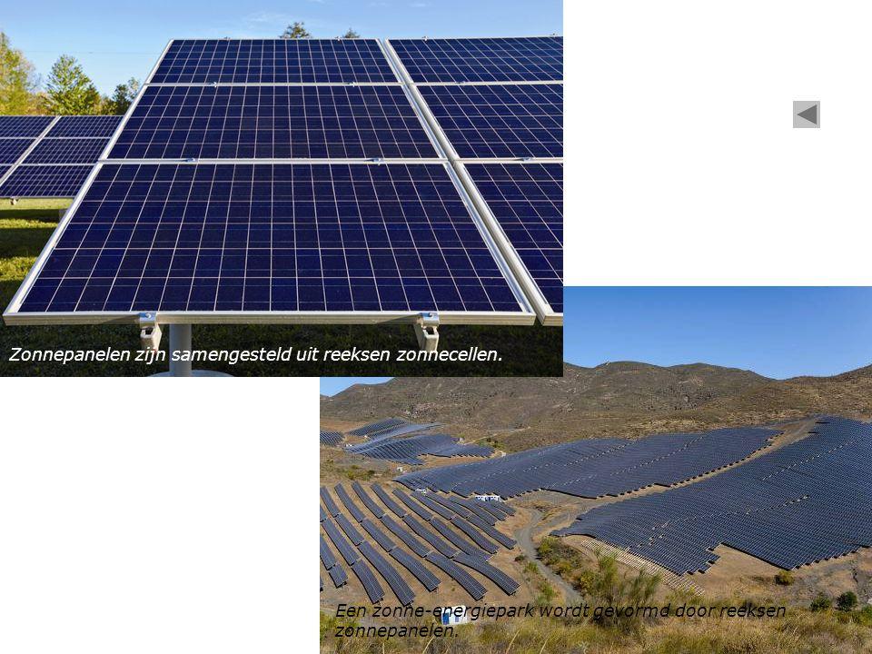 Een zonne-energiepark wordt gevormd door reeksen zonnepanelen. Zonnepanelen zijn samengesteld uit reeksen zonnecellen.
