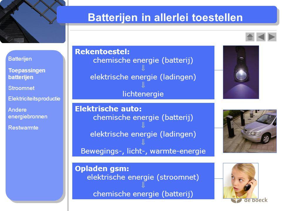 Batterijen in allerlei toestellen Rekentoestel: chemische energie (batterij)  elektrische energie (ladingen)  lichtenergie Elektrische auto: chemische energie (batterij)  elektrische energie (ladingen)  Bewegings-, licht-, warmte-energie Opladen gsm: elektrische energie (stroomnet)  chemische energie (batterij) Batterijen Toepassingen batterijen Stroomnet Elektriciteitsproductie Andere energiebronnen Restwarmte