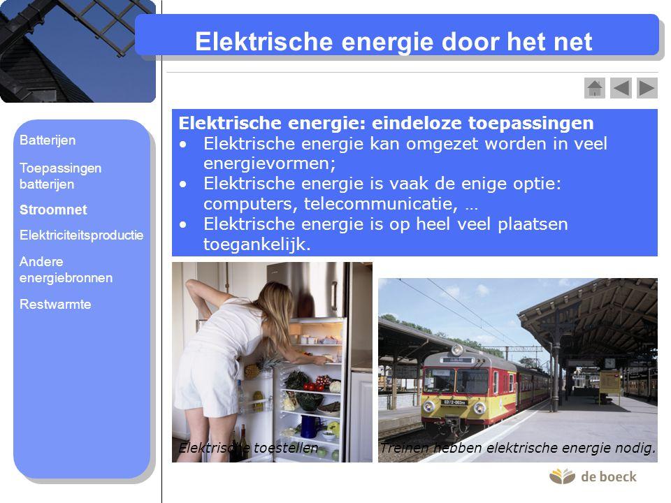 Elektrische energie door het net Elektrische energie: eindeloze toepassingen Elektrische energie kan omgezet worden in veel energievormen; Elektrische energie is vaak de enige optie: computers, telecommunicatie, … Elektrische energie is op heel veel plaatsen toegankelijk.