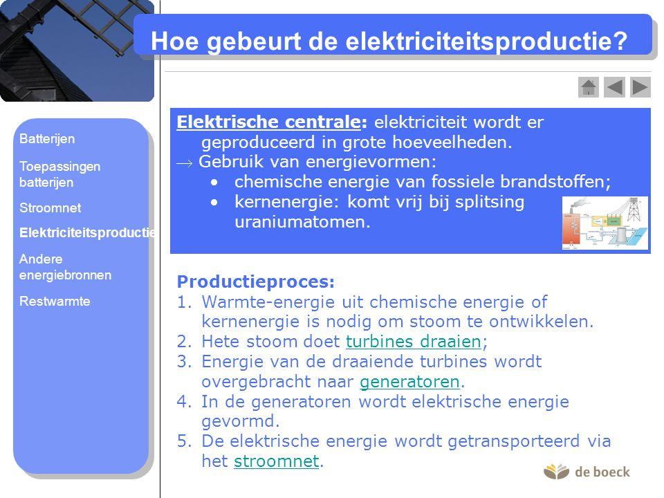 Hoe gebeurt de elektriciteitsproductie? Elektrische centrale: elektriciteit wordt er geproduceerd in grote hoeveelheden.  Gebruik van energievormen: