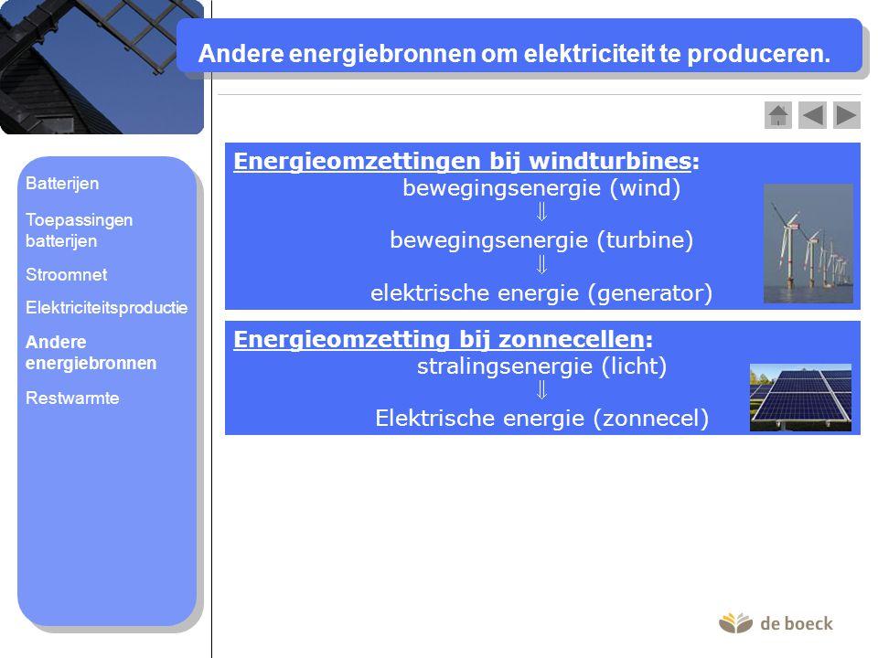 Andere energiebronnen om elektriciteit te produceren. Energieomzettingen bij windturbines: bewegingsenergie (wind)  bewegingsenergie (turbine)  elek