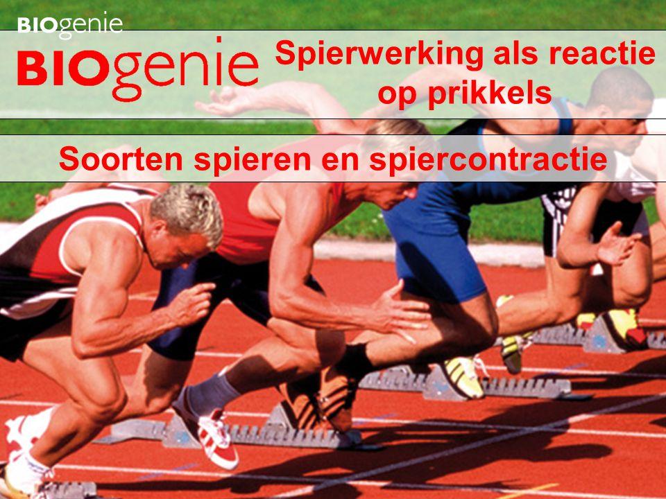 Soorten spieren en spiercontractie Spierwerking als reactie op prikkels
