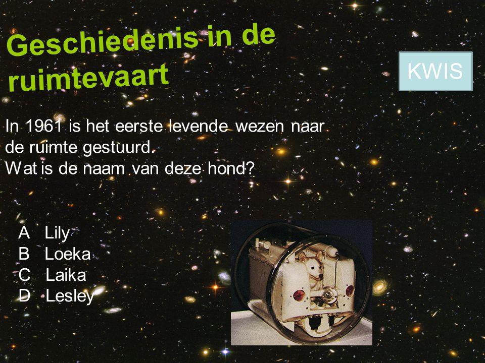 Geschiedenis in de ruimtevaart In 1961 is het eerste levende wezen naar de ruimte gestuurd. Wat is de naam van deze hond? A Lily B Loeka C Laika D Les