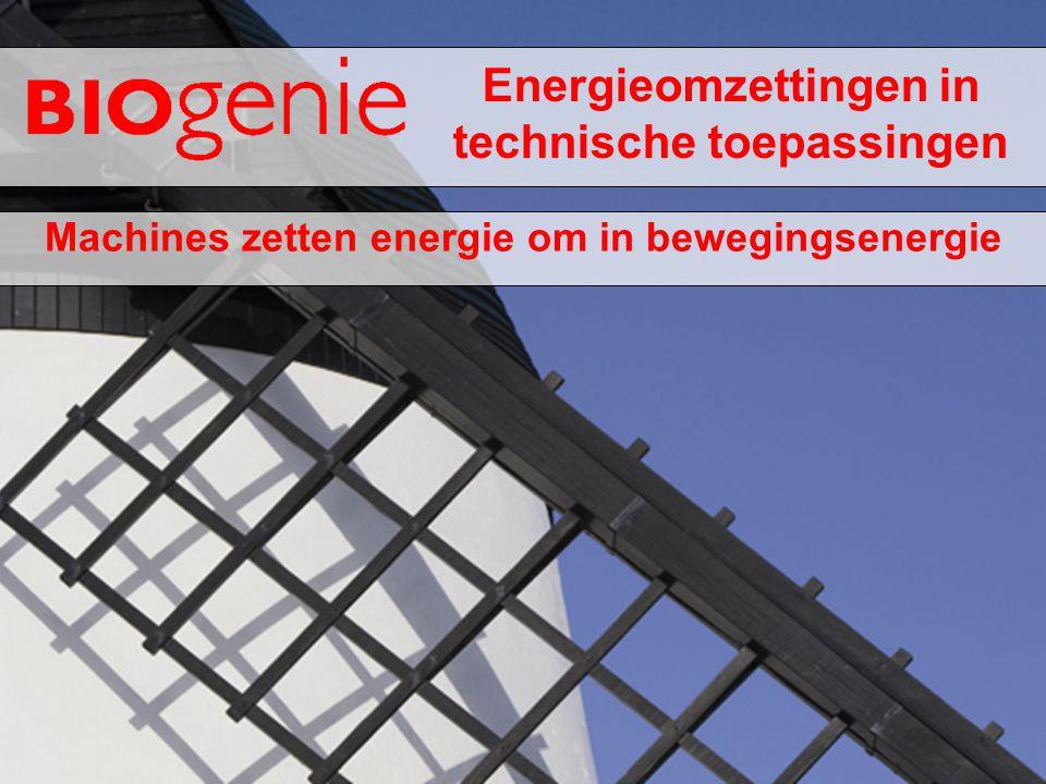 Energieomzettingen in technische toepassingen Machines zetten energie om in bewegingsenergie