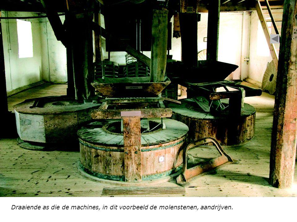 Draaiende as die de machines, in dit voorbeeld de molenstenen, aandrijven.