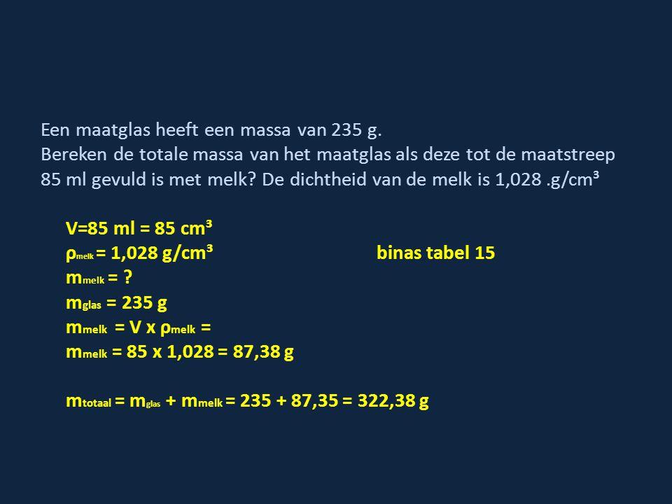 Een maatglas heeft een massa van 235 g. Bereken de totale massa van het maatglas als deze tot de maatstreep 85 ml gevuld is met melk? De dichtheid van