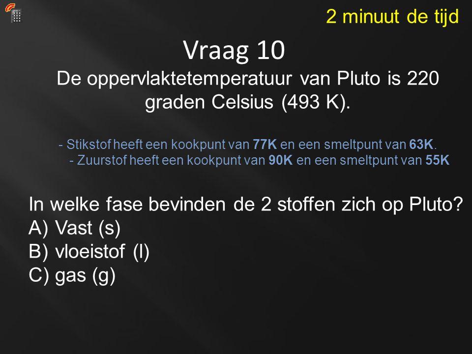 Vraag 10 De oppervlaktetemperatuur van Pluto is 220 graden Celsius (493 K).