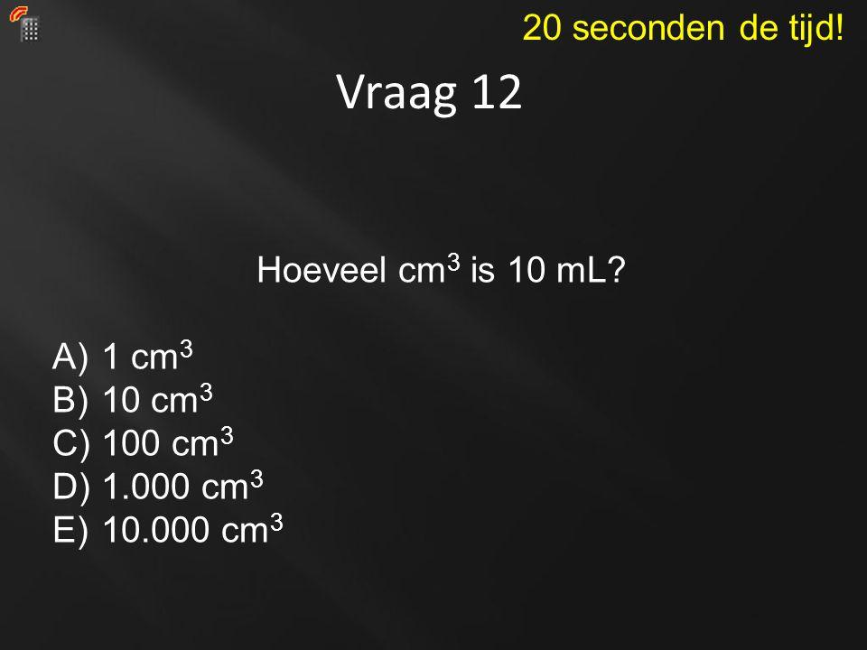 Vraag 12 Hoeveel cm 3 is 10 mL? A)1 cm 3 B)10 cm 3 C)100 cm 3 D)1.000 cm 3 E)10.000 cm 3 20 seconden de tijd!