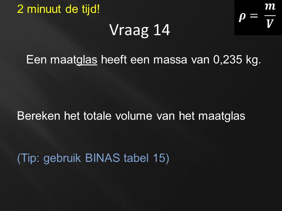Vraag 14 Een maatglas heeft een massa van 0,235 kg. Bereken het totale volume van het maatglas (Tip: gebruik BINAS tabel 15) 2 minuut de tijd!