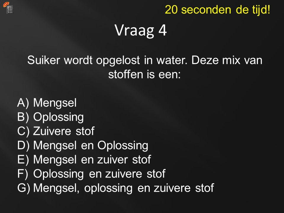 Vraag 4 Suiker wordt opgelost in water. Deze mix van stoffen is een: A)Mengsel B)Oplossing C)Zuivere stof D)Mengsel en Oplossing E)Mengsel en zuiver s