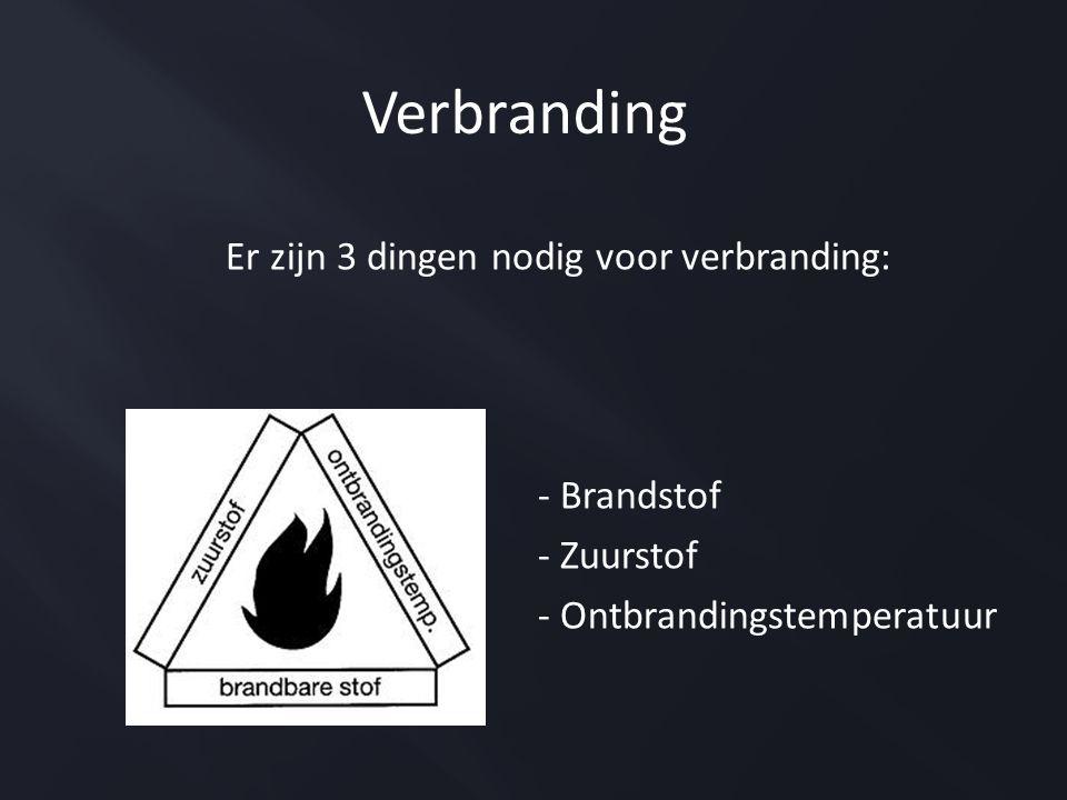 Er zijn 3 dingen nodig voor verbranding: - Brandstof - Zuurstof - Ontbrandingstemperatuur Verbranding