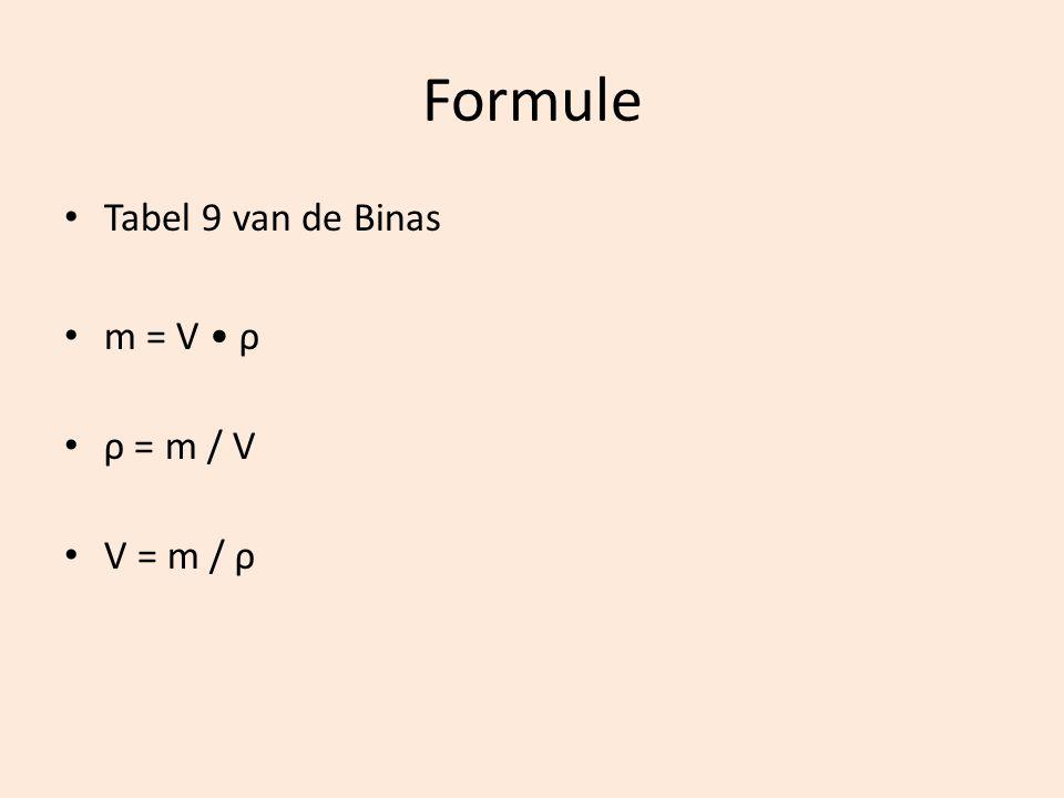 Formule Tabel 9 van de Binas m = V ρ ρ = m / V V = m / ρ