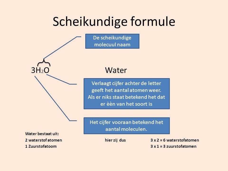Scheikundige formule 3H 2 OWater Water bestaat uit: 2 waterstof atomenhier zij dus 3 x 2 = 6 waterstofatomen 1 Zuurstofatoom3 x 1 = 3 zuurstofatomen V