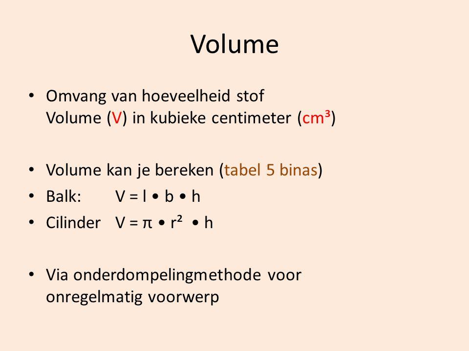 Volume Omvang van hoeveelheid stof Volume (V) in kubieke centimeter (cm³) Volume kan je bereken (tabel 5 binas) Balk: V = l b h Cilinder V = π r² h Vi