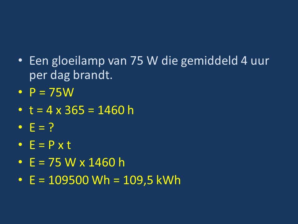 Een gloeilamp van 75 W die gemiddeld 4 uur per dag brandt. P = 75W t = 4 x 365 = 1460 h E = ? E = P x t E = 75 W x 1460 h E = 109500 Wh = 109,5 kWh