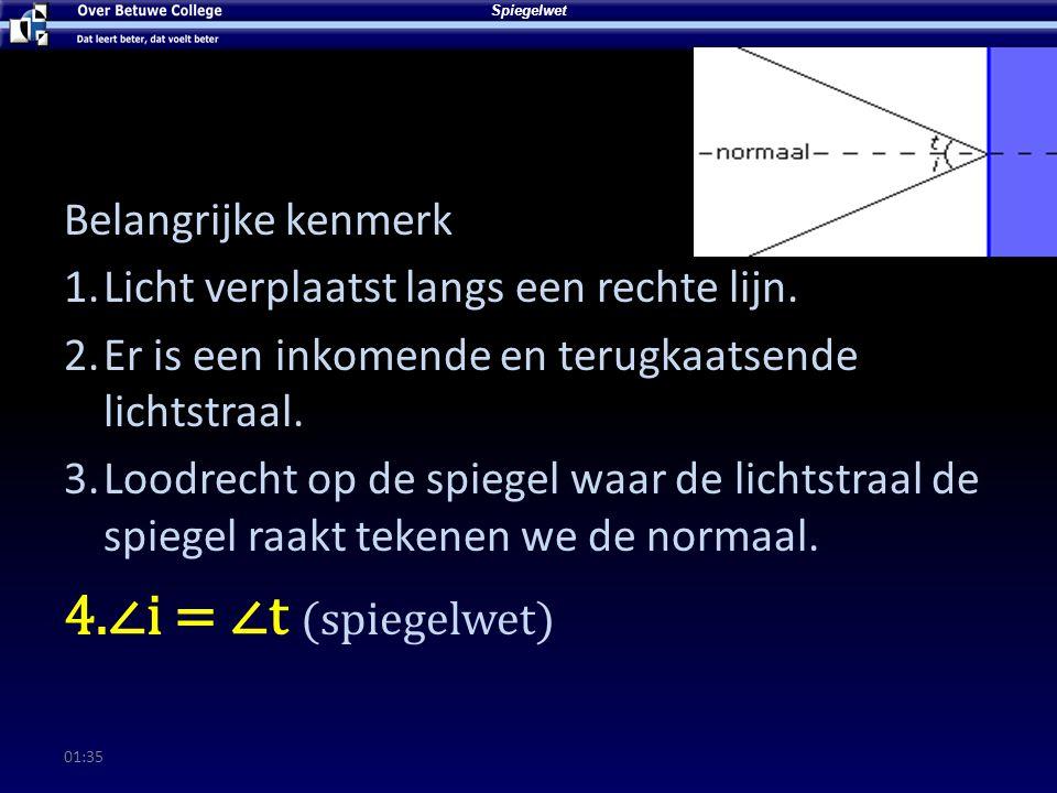 01:37 Spiegelwet Belangrijke kenmerk 1.Licht verplaatst langs een rechte lijn.