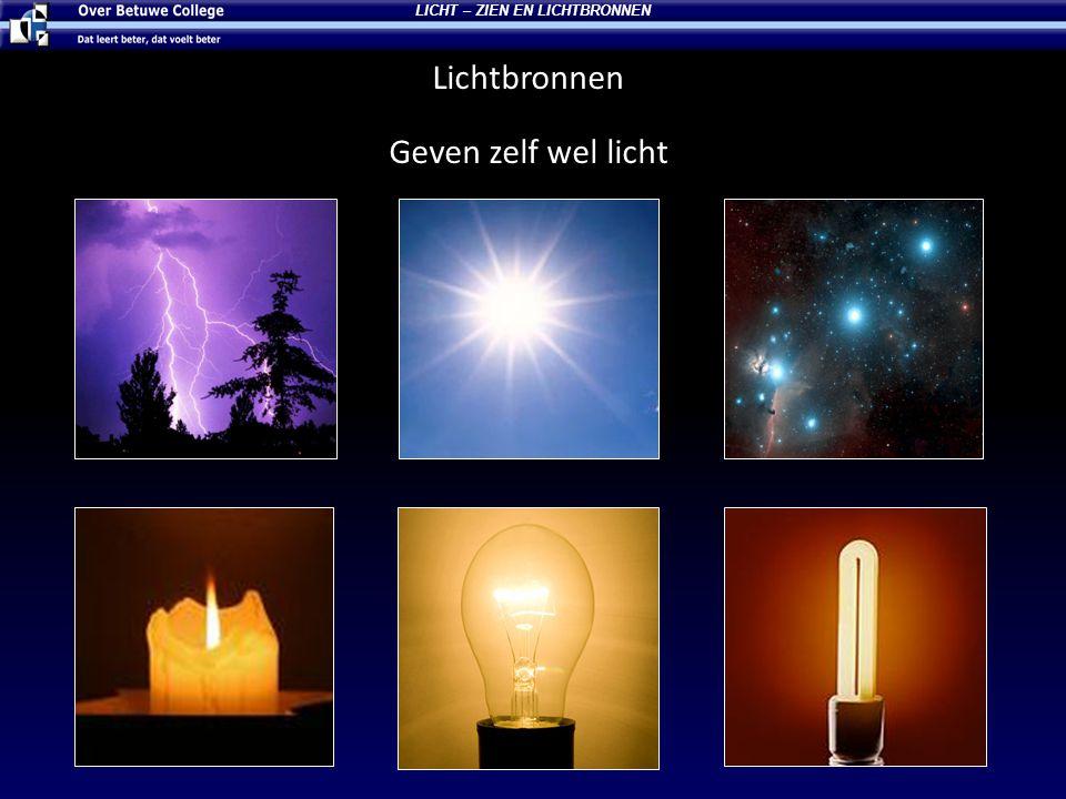 LICHT – ZIEN EN LICHTBRONNEN Donkere voorwerpen Geven zelf geen licht Ze zijn dus alleen zichtbaar als er licht van een lichtbron op valt