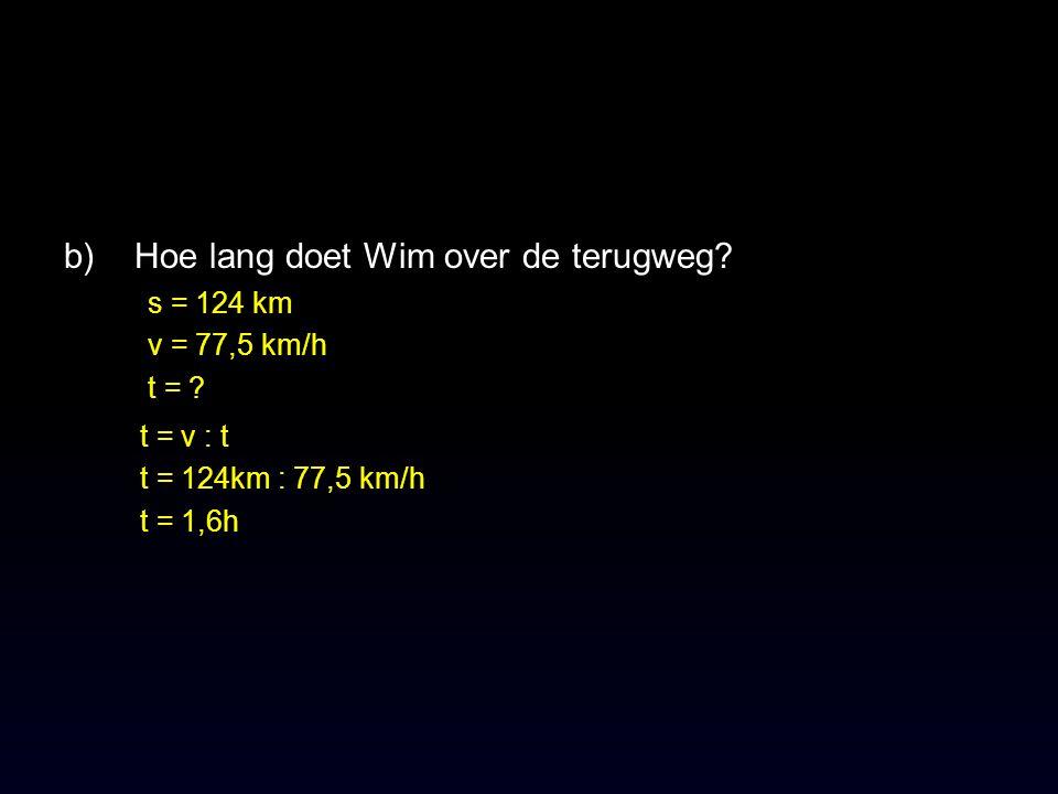 b)Hoe lang doet Wim over de terugweg.s = 124 km v = 77,5 km/h t = .