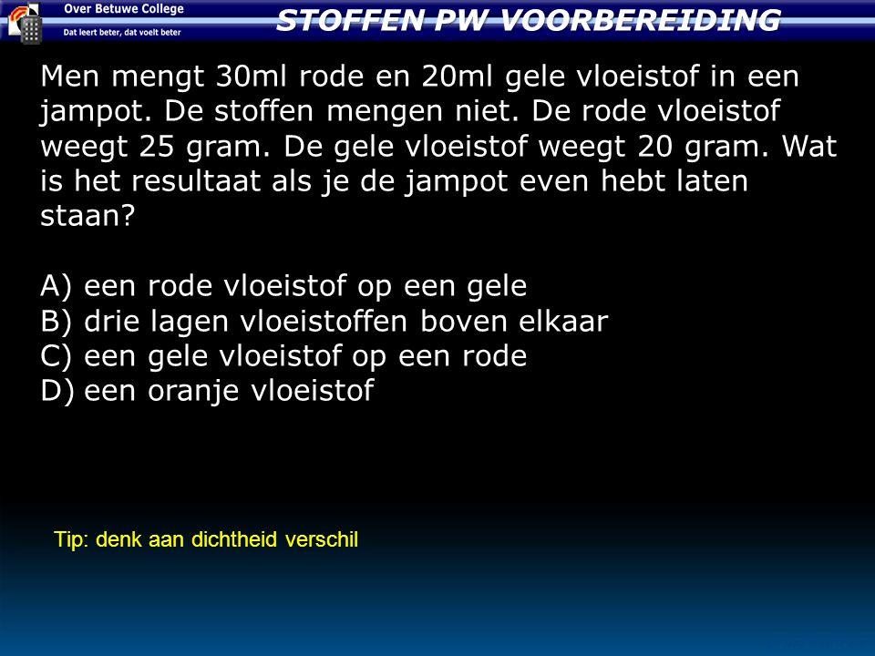 STOFFEN PW VOORBEREIDING © JHB PASTOOR Men mengt 30ml rode en 20ml gele vloeistof in een jampot.