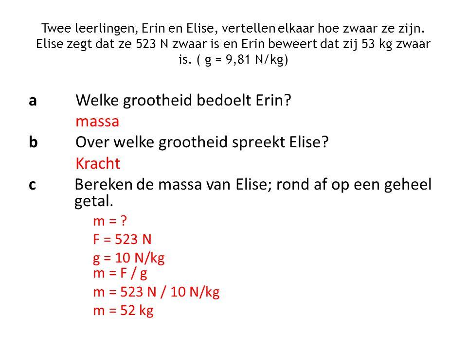 aWelke grootheid bedoelt Erin? massa bOver welke grootheid spreekt Elise? Kracht cBereken de massa van Elise; rond af op een geheel getal. m = ? F = 5