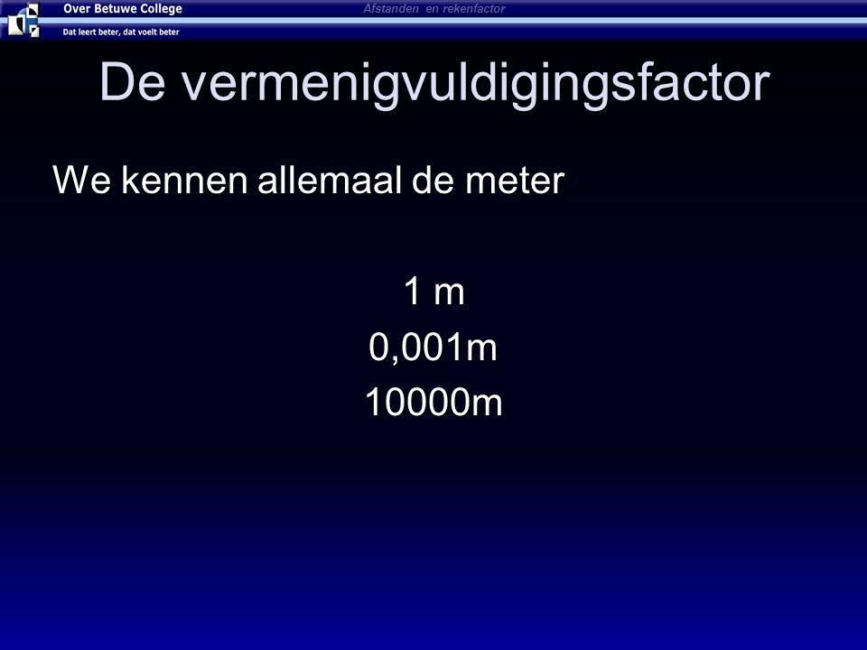 De vermenigvuldigingsfactor We kennen allemaal de meter 1 m 0,001m10000m Afstanden en rekenfactor