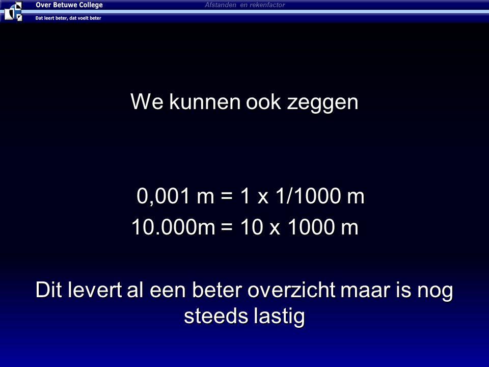 We kunnen ook zeggen 0,001 m = 1 x 1/1000 m 0,001 m = 1 x 1/1000 m 10.000m = 10 x 1000 m Dit levert al een beter overzicht maar is nog steeds lastig Afstanden en rekenfactor