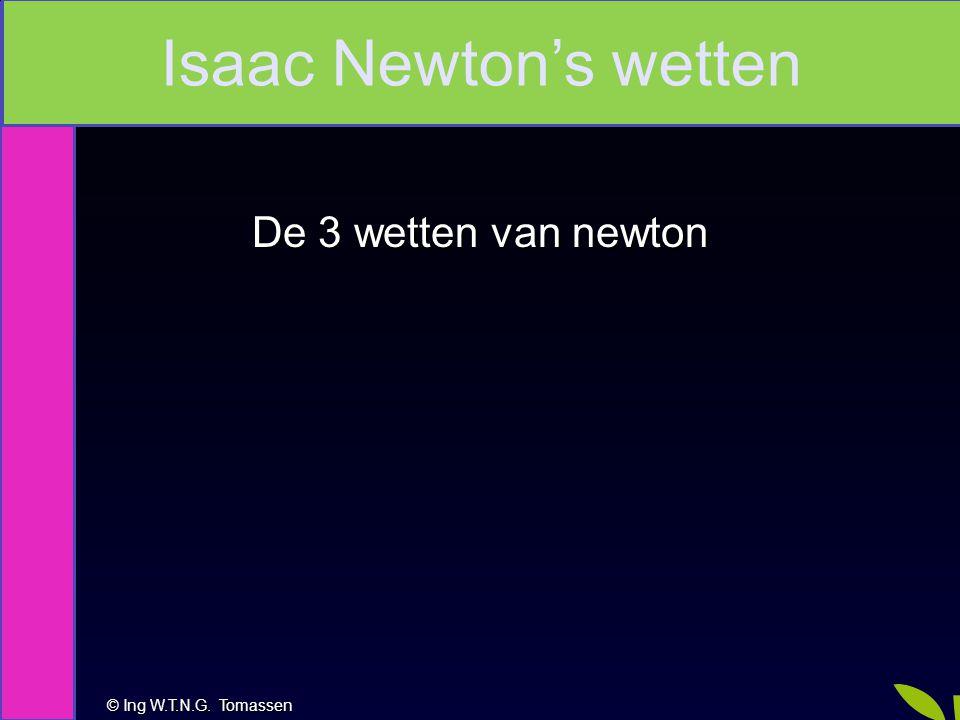 © Ing W.T.N.G. Tomassen Na deze les kan je: De 3 wetten van newton Isaac Newton's wetten