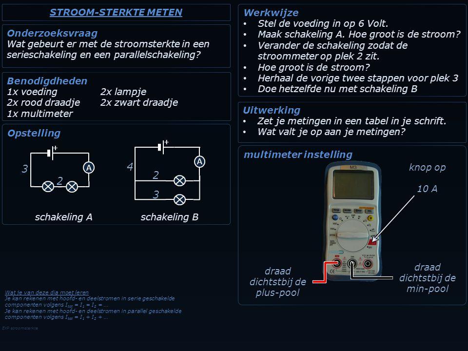 EXP stroomsterkte Onderzoeksvraag Wat gebeurt er met de stroomsterkte in een serieschakeling en een parallelschakeling? Benodigdheden 1x voeding2x lam
