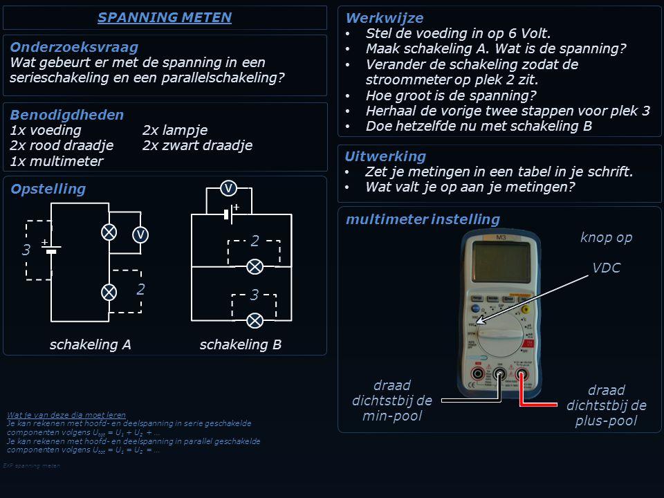 EXP spanning meten Onderzoeksvraag Wat gebeurt er met de spanning in een serieschakeling en een parallelschakeling? Benodigdheden 1x voeding2x lampje