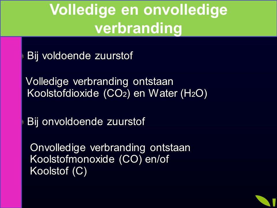Bij voldoende zuurstof Volledige verbranding ontstaan Koolstofdioxide (CO 2 ) en Water (H 2 O) Volledige verbranding ontstaan Koolstofdioxide (CO 2 )