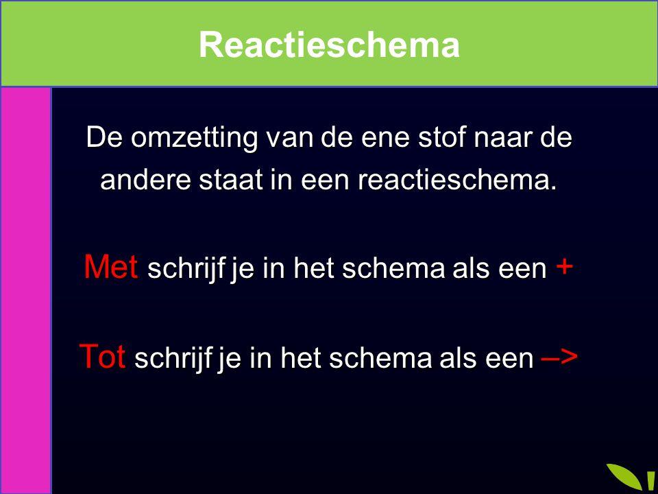 Reactieschema De omzetting van de ene stof naar de andere staat in een reactieschema. Met schrijf je in het schema als een + Tot schrijf je in het sch