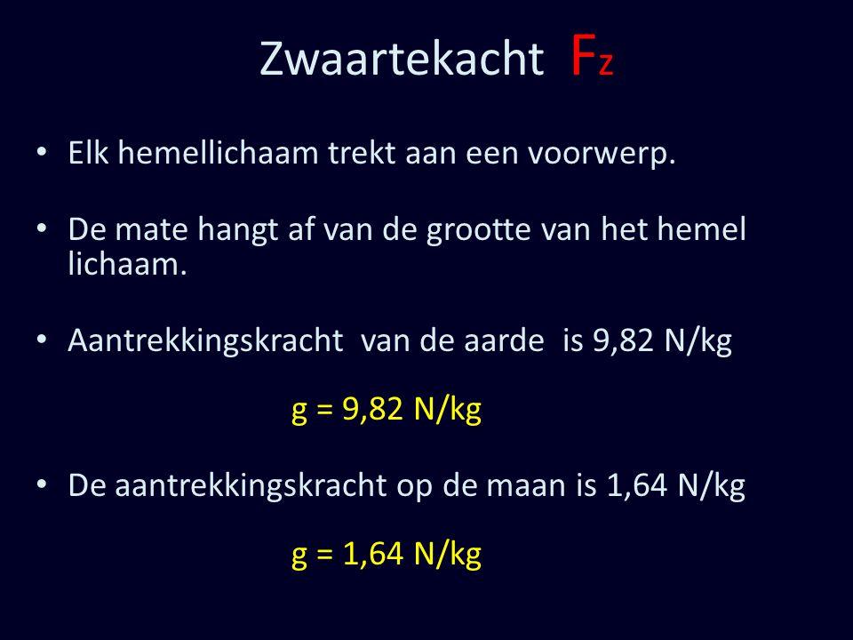 Zwaartekacht F z Elk hemellichaam trekt aan een voorwerp. De mate hangt af van de grootte van het hemel lichaam. Aantrekkingskracht van de aarde is 9,