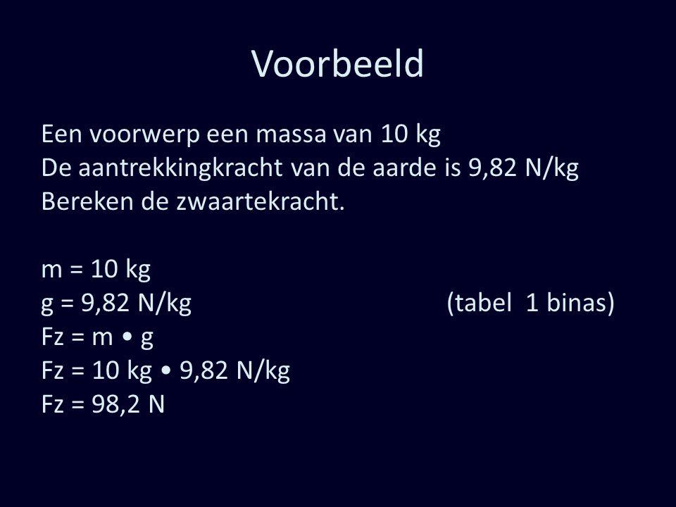 Voorbeeld Een voorwerp een massa van 10 kg De aantrekkingkracht van de aarde is 9,82 N/kg Bereken de zwaartekracht. m = 10 kg g = 9,82 N/kg(tabel 1 bi