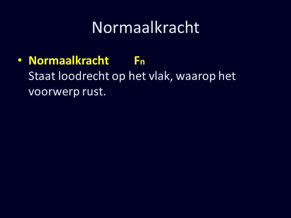 Normaalkracht Normaalkracht F n Staat loodrecht op het vlak, waarop het voorwerp rust.