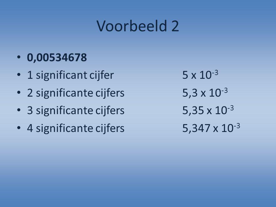 Voorbeeld 2 0,00534678 1 significant cijfer5 x 10 -3 2 significante cijfers5,3 x 10 -3 3 significante cijfers5,35 x 10 -3 4 significante cijfers5,347