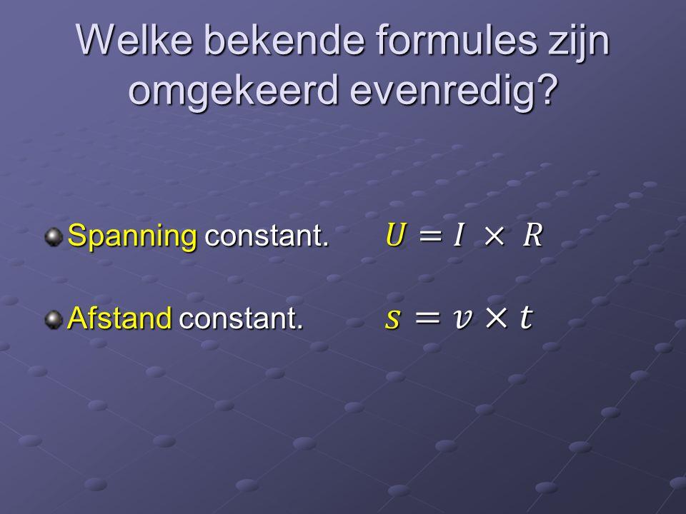 Omgekeerd evenredigheid in een v-t diagram (s is constant) t in h12345678910 v in km/h 100,050,033,325,020,016,714,312,511,110,0 v in km/h