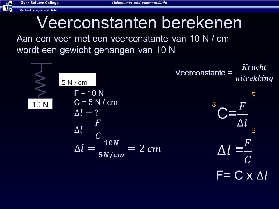 Veerconstanten berekenen Rekenenen met veerconstante 10 N 5 N / cm Aan een veer met een veerconstante van 10 N / cm wordt een gewicht gehangen van 10